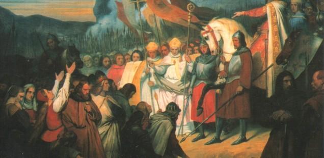 Ari Scheffer (1840): Karl der Große nimmt die Unterwerfung Widukinds in Paderborn entgegen.  Quelle: Wikimedia commons